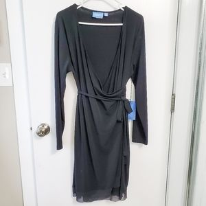 Simply Vera Long Black Ruffled Belted Wrap Dress